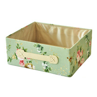 Free shipping Clothing and toy makeup organizer basket green canvas with flower painting folding storage box storage container