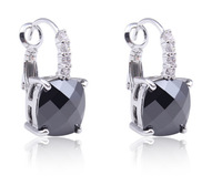 Women Fashion Jewelry New Irregularity Cut Black Spinel & White Sapphire 925 Dangle Hook Silver Earring Free Shipping Wholesale