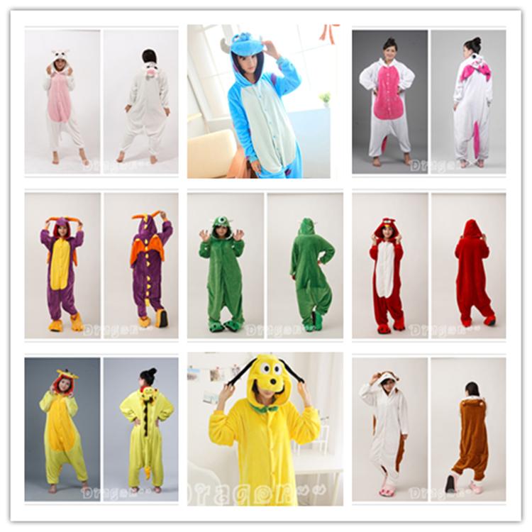 hoodies pyjama alles in een pyjama dierlijke kostuums eenhoorn/draak/paard/sullivan/Hamtaro/goofy/vogels/monster onesie voor volwassen unisex(China (Mainland))