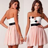 2014 New Summer Cute Women Chiffon Patchwork Appliques Flower Strapless Mini Dress Vestidos, Black, Pink, S, M, L, XL