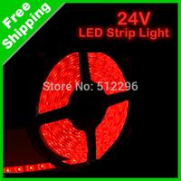 24V Red 5 Meter car LED Strip light 300 Leds 500cm 1210 SMD free shipping #J-1755