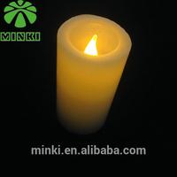 Coin battery powered Minki romantic flicking Yellow 4pcs pillar wax led candle light for wedding