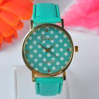 New Fashion women dress Candy Style White Dots Watches Geneva leather wristwatch casual quartz watch orologio da polso JD321