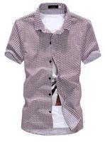 Summer 2014 New Fashion Brand Men Shirt Plaid Cotton Polyester Male Clothes Short Sleeve Korean Cardigan Black/Red AX82 M-XXL