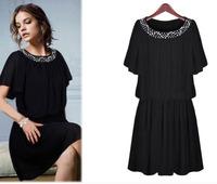Wholesale 6XL Fat women dress Europes bead plus size 5XL 4XL short sleeve elegant summer chiffon casual dress M~XXXXXXL 2107