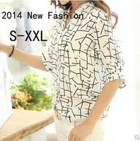 Free Shipping 2014 New Brand Summer Women Mid-sleeve Print Chiffon Blouse Korean Fashion Slim Casual Shirts Tops For Women