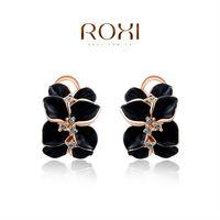 ROXI Brand 8.19 Big Sales Item stud  flowers earrings crystal Pink Crystal earrings accessories Platinum gold Plated jewelry