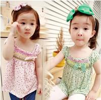 Wholesale New Summer  Girls  Cute Flowers Short Sleeve Baby's Shirt C1302