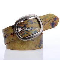 Personalized fashion original hand-painted burst crack pure leather belt retro graffiti