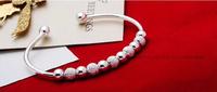 925 Silver Beads Cuff Bracelet Pulsera adjustable size Reglable