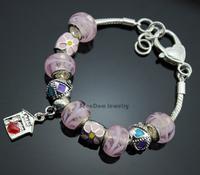 """Sweet House"" Love Heart Pendant Enamel Flower Charms European Pink Murano Beads 925 Silver Love Bracelet+Gift Pouch PBS015"