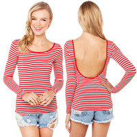 2014 NEW ARRIVAL HOT SALE!Milla Women Knitting Red and White Striped Long-sleeved Back U-shaped O-neck T-shirt