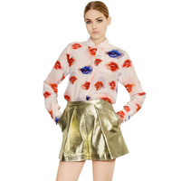 2014 NEW ARRIVAL HOT SALE!Milla Women Autumn Summer Big Red Lips Blue Lips Printed Long-sleeved Chiffon Shirt