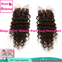 deep curly hair malaysian lace closure middle/free part 3.5x4 malaysian virgin hair closure 100% human wave 5a unprocessed sale