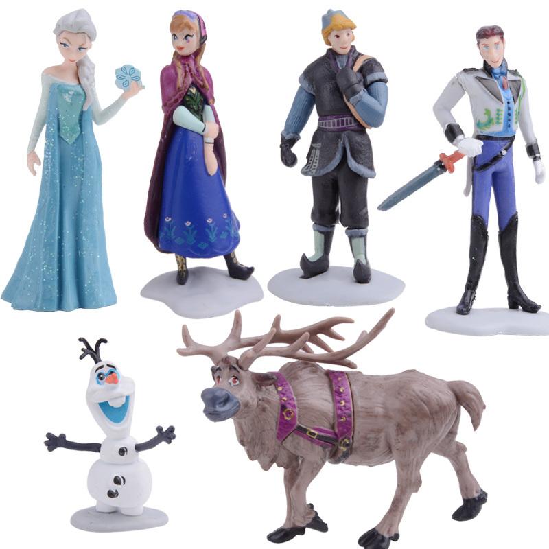 2014 New Movie Figures Toy Cake Topper Deco Kids Toy Set Kits Frozen Dolls Anna Elsa Hans Kristoff Sven Olaf 6 in 1 #6 SV000972(China (Mainland))