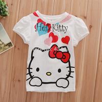 2014 wholesale 5pcs/1lot Children's T-shirt,100%cotton Children's cartoon short sleeve t shirt,hello kitty t-shirt,kids clothes