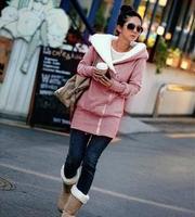 Size M-XXL Free shipping 2014 New Fashion Women's Warm Zip Up Jacket Coat Hoodied (Slant zipper design) Outerwear clothing