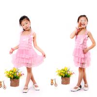 Newest Flower Girl Baby Casual Dress Pink Chiffon Tiered And Lace Ruffle Petti Layered Frozen Dresses Girls Dress Free Shipping