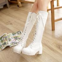 Fashion leg autumn and winter boots cutout vintage retro finishing lacing boots high-leg boot