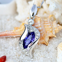 fashion genuine real 100% pure sterling 925 silver necklace amethyst crystal angel heart jewelry necklace & pendant for women