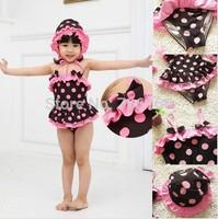 Summer princess Cute cotton kids girls swimwear,  child bikini swimwear Leopard grain two pieces bathing suit ,free shipping
