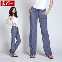 New fashion women pants loose casual linen pants 2014 spring autumn comfortable material bell-bottom trousers women