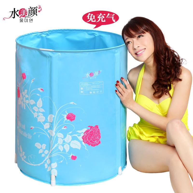 Water beauty folding tub bath bucket adult bathtub inflatable bathtub thickening plastic bathtub bath bucket 108(China (Mainland))