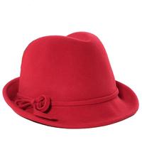 Wholesale 6pcs Stylish Women Winter Wool Fedora Cap Trendy Lady Spring Wool Felt Fedoras Hat Womens Fall Trilby Hats Cheap Caps