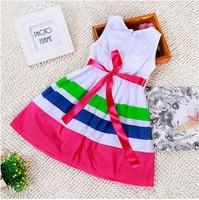 Casual Cotton Girl Stripe Dress Zipper Sleeveless White Summer Princess Dresses Colorful Edge Free Shipping