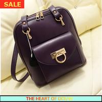 Korean Genuine Leather Women Backpack Solid Women Travel Bag Zipper Ring School Bag for Girls Female Bag B222
