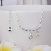 New Arrival!! Wholesale Cheap Insets Star Anklets 925 Silver plated Fashion Jewelry Personality Gift SMTA015