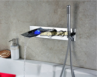 Luxury Bath Mixer LED Color Changing Wall Mount Bathtub Faucet With Hand Shower Shower Hotel SE301