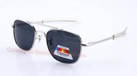 New 2014 Fashion AO Aviator MILITARY  Men Metal Polarized American Optical Brand SUNGLASSES with box Women  57mm oculos gafas