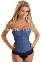 Plus Size 6XL Women Blue Denim Corset with Lace Thong Steampunk Corset Good Shape Body Corselete Waist Training Corpetes Corset