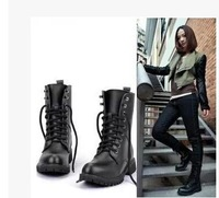 2014 Womens Ladies New Fashion Round Toe Cool Ankle Short Army Boots Flat Winter Autumn Shoes Lace-up Black PU Leather Antislip
