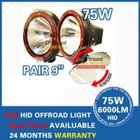 Free Shipping 2PCS 9'' 75W HID Driving Light Offroad, ATV Truck,Hid Work Light Spot Beam  HID Offroad Light Lamp