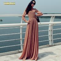 2014 New European American high-end chiffon long sleeved long dress plus size S-XXL