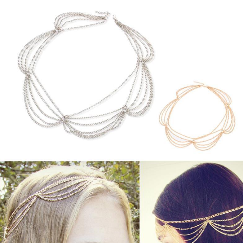 2014 High Quality BOHO Chain Fringe Tassel Metal Head Piece Bohemian Chain Headband Headwrap Celebrity Wedding Party 2X MPJ027(China (Mainland))