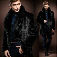 2014 Winter Black Men Faux Fur Coat Luxury Long High Imitation Rabbit  Fur Jacket With Collar Vintage Clothes For Russian Male