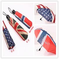 Vintage flag of Norway US flag Union Jack umbrella automatic open and close,three folds sun rain umbrellas