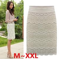 Elastic Waist Women Lace Skirts 2014 Femal Pencil Skirt Black Beige Bodycon Midi Skirt Plus Size XXL Ladies Slim office workwear