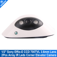 Mini CCTV dome Camera ccd sony Effio-e 700tvl Array IR LED indoor 2.8mm Wide Angle Corner Elevator Security camera for 960h dvr