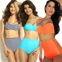 2014 High-waisted bikini,women swimwear Bikinis,orange swimsuit,black striped,lace push up retro vintage bikini,sexy  for women