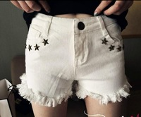 Promotion!New Arrival 2014 Summer Women Shorts Rivet White Denim Shorts High Quality Shorts Jeans Women