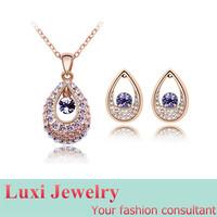 Luxury Crystal Water Drop Jewelry Set Necklace Pendant Drop Earrings Set Fashion European Statement Jewelry 2014