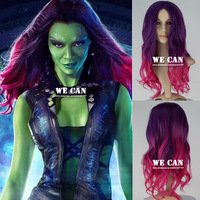 New Movie Guardians of the Galaxy Gamora Wig Synthetic Long Wavy Gradient Purple mixed Pink Anime Cosplay Wig Free Shipping