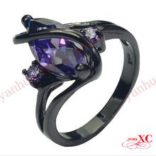 Fine Jewelry High Quality Purple Amethyst RingsAAA Zircon 14KT Black Gold Filled Ring For Women&Lady's Size 6/7/8/9/10 R6F2777