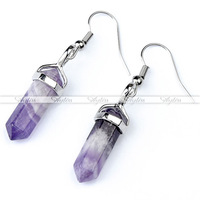 Womens Hexagon Crystal Healing Point Ear Hook Dangle Earrings Fashion Freeshipping