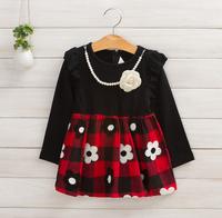 2014 New autumn,girls princess dress,children plaid long sleeve dress,embroidery,corsage,necklace,2 colors,5 pcs / lot,1507