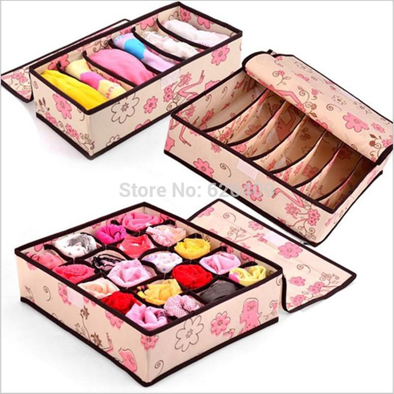 2014 Novelty Houshhold Flower Print design 14 Cell Foldable Underwear Bra Socks Tie Organizer Divider Box Case with cover(China (Mainland))